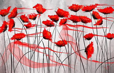 Red Abstract Painting - We Remember- Red Poppies Impressionist Painting by Lourry Legarde