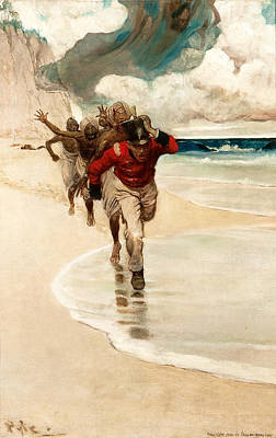 Howard Pyle Painting - We Started To Run Back To The Raft For Our Live by Howard Pyle