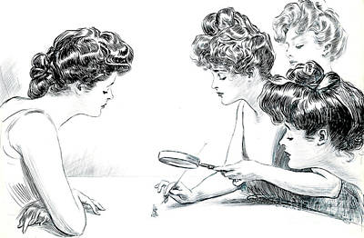 Pen And Ink Drawing Photograph - Weaker Sex 1903 by Padre Art