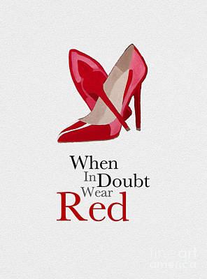 Doubting Mixed Media - Wear Red by Rebecca Jenkins