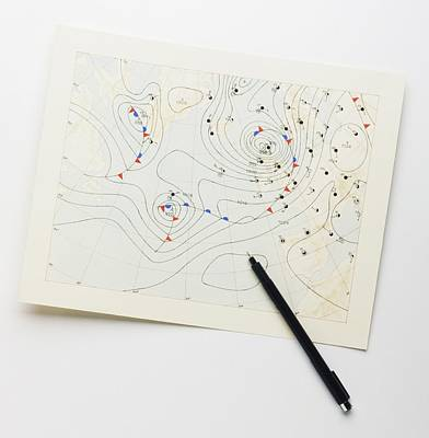 Chart Photograph - Weather Chart And Pen by Dorling Kindersley/uig
