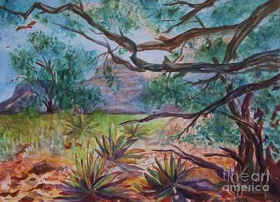 Red Tail Hawk Painting - Weathered Branches And Yuccas In Red Rock Country by Ellen Levinson