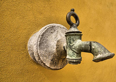 Weathered Brass Water Spigot Print by David Letts