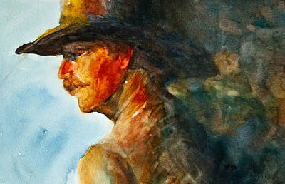 In Earth Tones Painting - Weathered Cowboy by Jani Freimann