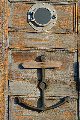 Massachusetts Photograph - Weathered Door With Anker by Juergen Roth
