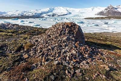 Weathered Erratic And Glacial Lake Print by Dr Juerg Alean