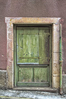 Weathered Green French Door Print by Georgia Fowler