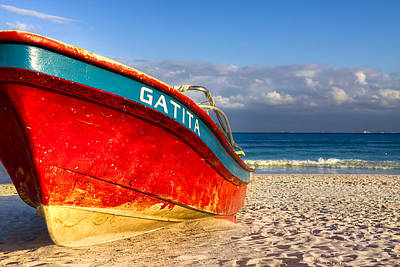 Weathered Red Boat On A Mexican Beach Print by Mark E Tisdale