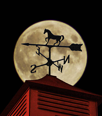 Weathervane Before The Moon Print by Wes Jimerson