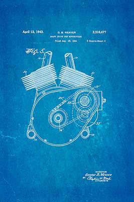 1943 Photograph - Weaver Indian Motorcycle Shaft Drive 2 Patent Art 1943 Blueprint by Ian Monk