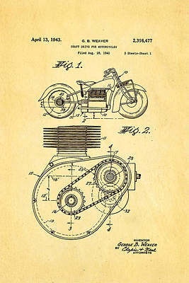 1943 Photograph - Weaver Indian Motorcycle Shaft Drive Patent Art 1943 by Ian Monk