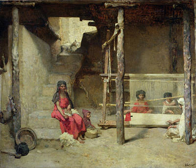 Persian Carpet Painting - Weavers At Bou-saada by Gustave Guillaumet