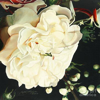 Sunburst Floral Still Life Painting - Wedding Belle by Edythe Alexander