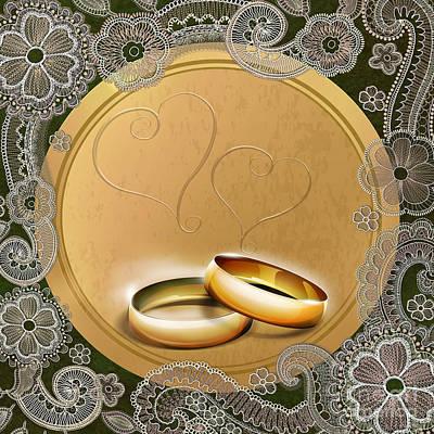 Anniversary Ring Digital Art - Wedding Memories V1b Classic by Bedros Awak