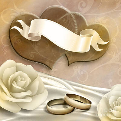 Anniversary Ring Digital Art - Wedding Memories V2 Sepia by Bedros Awak