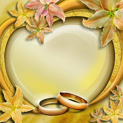 Floral Ring Digital Art - Wedding Memories V3 by Bedros Awak