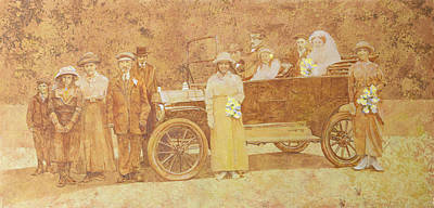 Car Drawing - Wedding Party  by Clive Metcalfe