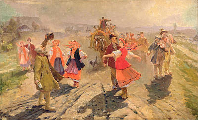 Wedding Procession In The Orel Region Oil On Canvas Print by Vladimir Egorovic Makovsky