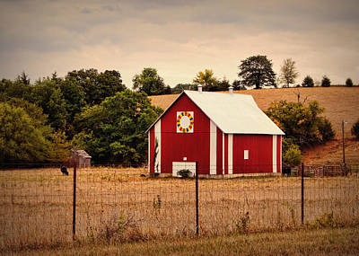 Quilts Photograph - Wedding Ring Quilt Barn by Cricket Hackmann