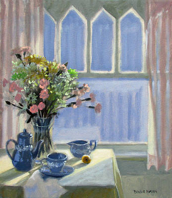 Interior Scene Painting - Wedgewood Blues - Flowers By The Window by Bonnie Mason