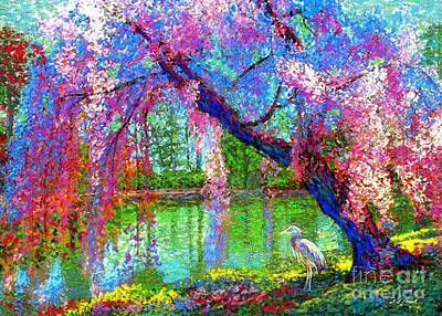 Woodlands Scene Painting - Weeping Beauty, Cherry Blossom Tree And Heron by Jane Small