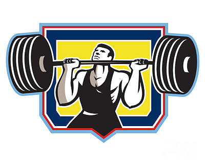 Weightlifter Lifting Heavy Barbell Retro Print by Aloysius Patrimonio