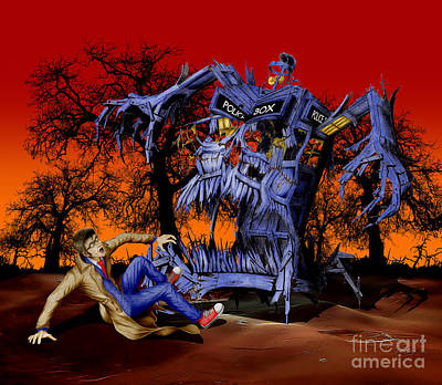 Fandom Drawing - Weird Cursed British Blue Phone Box Monster by Three Second
