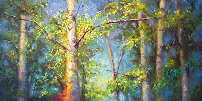 Lively Painting - Welcome Home - Birch And Aspen Trees by Talya Johnson