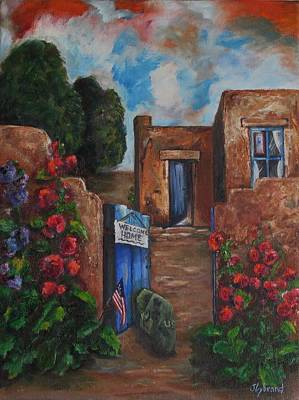 Holly Hocks Painting - Welcome Home by Judy Lybrand