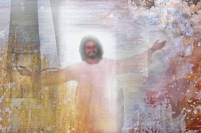 Smiling Jesus Mixed Media - Welcome by Kume Bryant