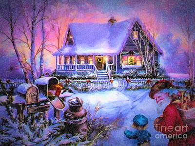 Welcome Santa - Retro Vintage Inspired Christmas Scene Print by Lianne Schneider
