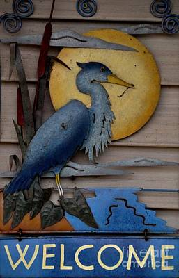 Heron Photograph - Welcome Sign by John Black