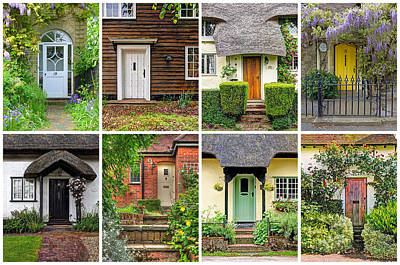 Welcome To England - 8 Cottage Doors Print by Gill Billington