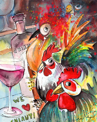 Italian Wine Painting - Welcome To Italy 08 by Miki De Goodaboom