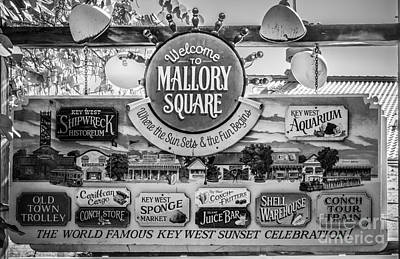 Welcome To Mallory Square Key West - Black And White Print by Ian Monk