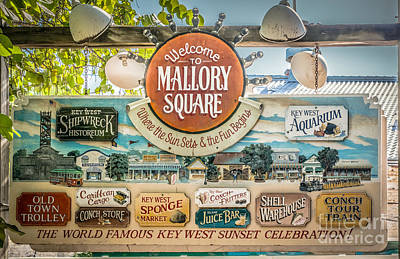 Welcome To Mallory Square Key West - Hdr Style Print by Ian Monk
