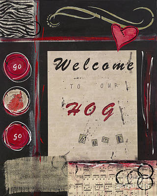 Of A Pig Painting - Welcome To Our Hog Home by Cindy Watkins
