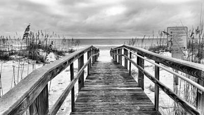 Welcome To Pensacola Beach Bw Print by JC Findley