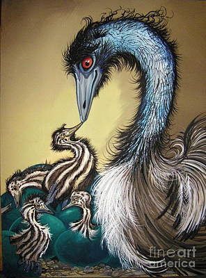 Welcome To The World Emus Original by Anne Shoemaker-Magdaleno