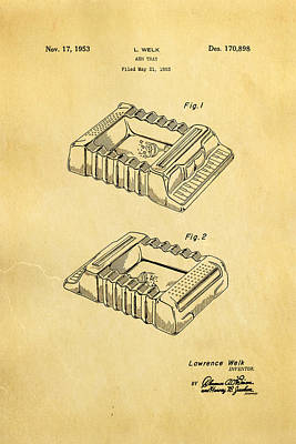 Mad Men Photograph - Welk Accordian Ash Tray Patent Art 1953 by Ian Monk