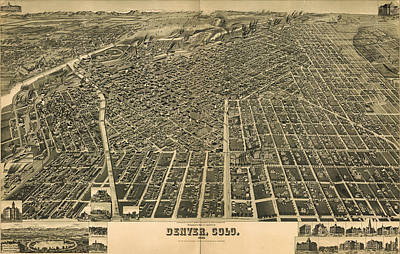 Denver Drawing - Wellge's Birdseye Map Of Denver Colorado - 1889 by Eric Glaser