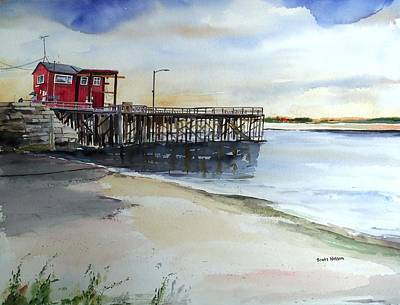 Scott Nelson And Son Painting - Wells Harbor Dock by Scott Nelson