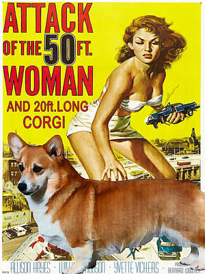 Custom Dog Portrait Painting - Welsh Corgi Pembroke Art Canvas Print - Attack Of The 50ft Woman Movie Poster by Sandra Sij
