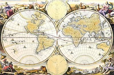 Antique World Map Print by Nicolaes the Elder Visscher