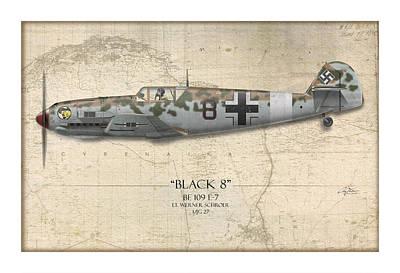 Fighters Digital Art - Werner Schroer Messerschmitt Bf-109 - Map Background by Craig Tinder