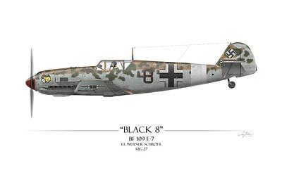 Werner Schroer Messerschmitt Bf-109 - White Background Print by Craig Tinder