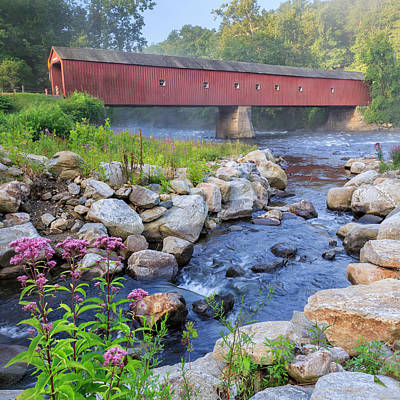 Historic Bridge Photograph - West Cornwall Covered Bridge Square by Bill Wakeley
