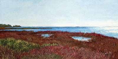 Waterfowl Painting - West Florida Panhandle Looking Towards The Gulf by Paul Gaj