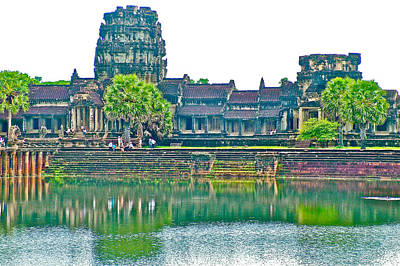 Angkor Digital Art - West Gallery From Across Moat In Angkor Wat In Angkor Wat Archeological Park Near Siem Reap-cambodia by Ruth Hager