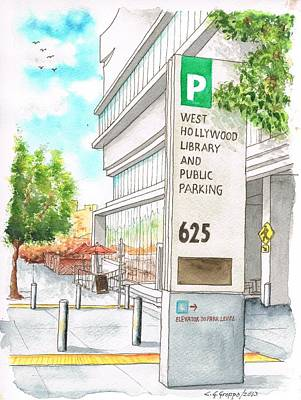 Library Painting - West Hollywood Library And Public Parking In San Vicente Blvd - West Hollyood - California by Carlos G Groppa